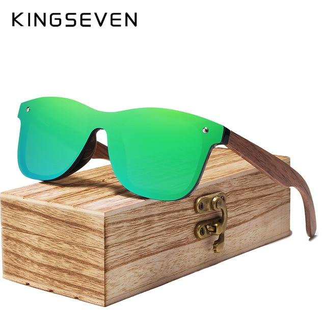 KINGSEVEN 2019 Mens Sunglasses Polarized Walnut Wood Mirror Lens-Be Healthy Be Loved