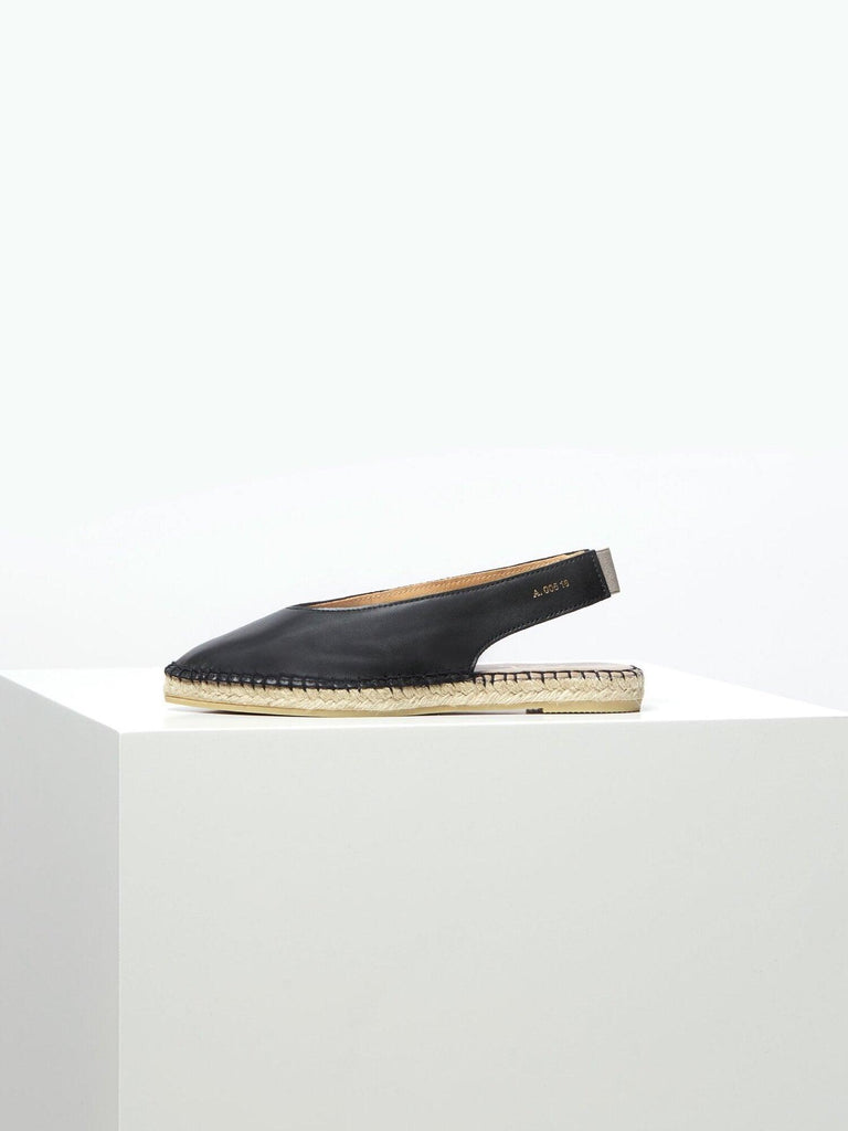 Ulvik Black Leather Espadrilles