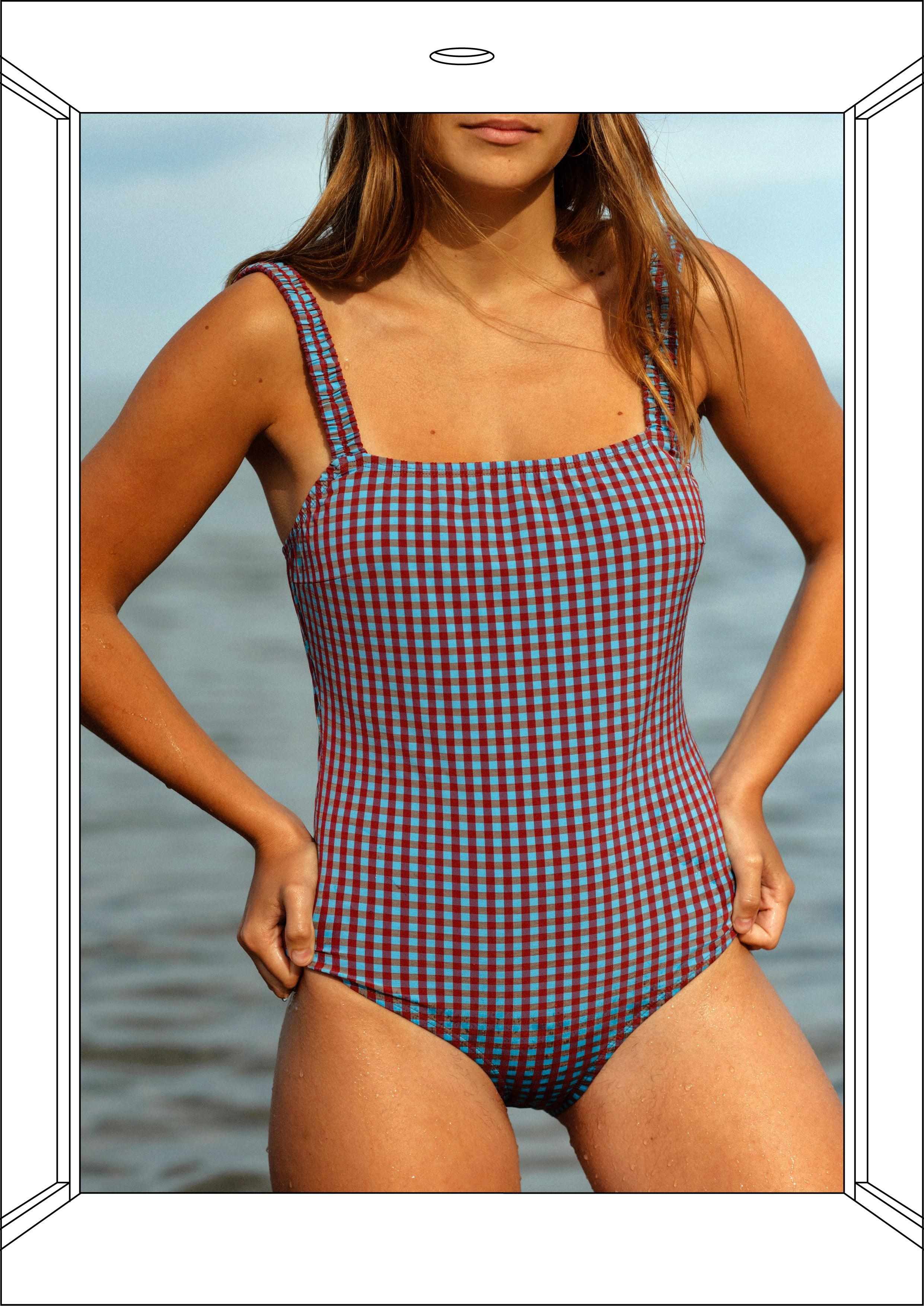 Vichy Blue/Red One-piece Swimwear