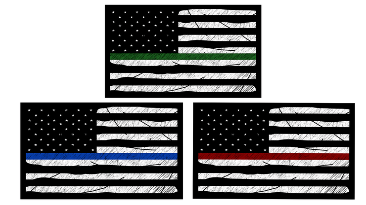 Thin Lines Sticker - Green, Red, & Blue