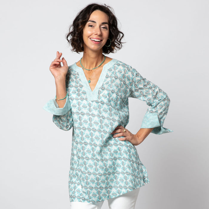 Kinsley Blue bluCotton Kurta Tunic (available: March)