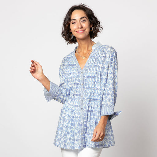 Kinsley Navy bluCotton Pintuck Tunic (available: March)