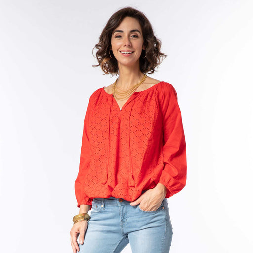Solid Red Eyelet Peasant Top