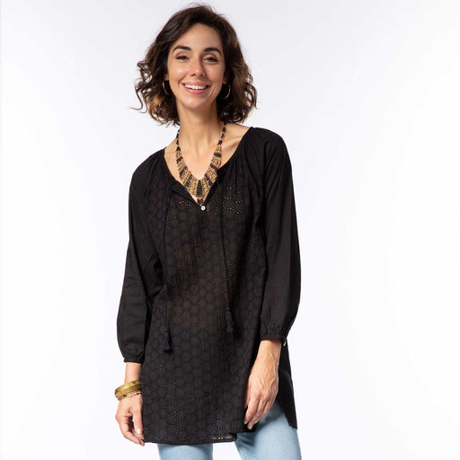 Solid Black Eyelet Peasant Top