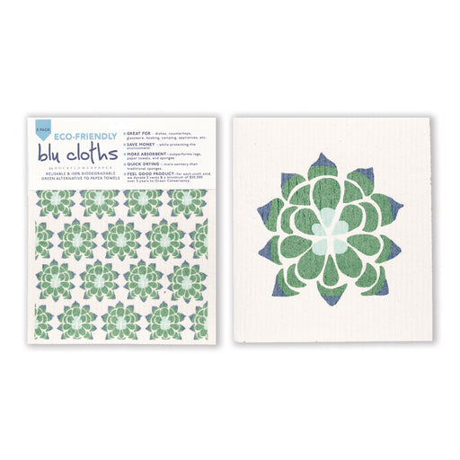 Desert Succulent Blu Cloth Set 2