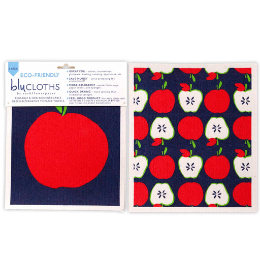 Apples Eco-Friendly blu Cloths - Set of 2
