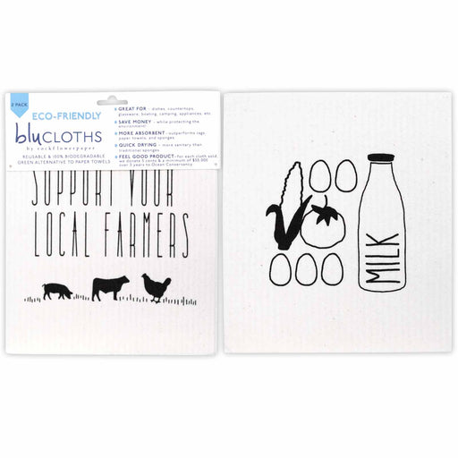 Local Farmer Eco-Friendly blu Cloths - Set of 2