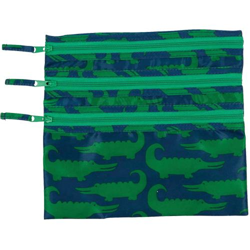 Alligators Green 3-Zip Travel Organizer Pouch