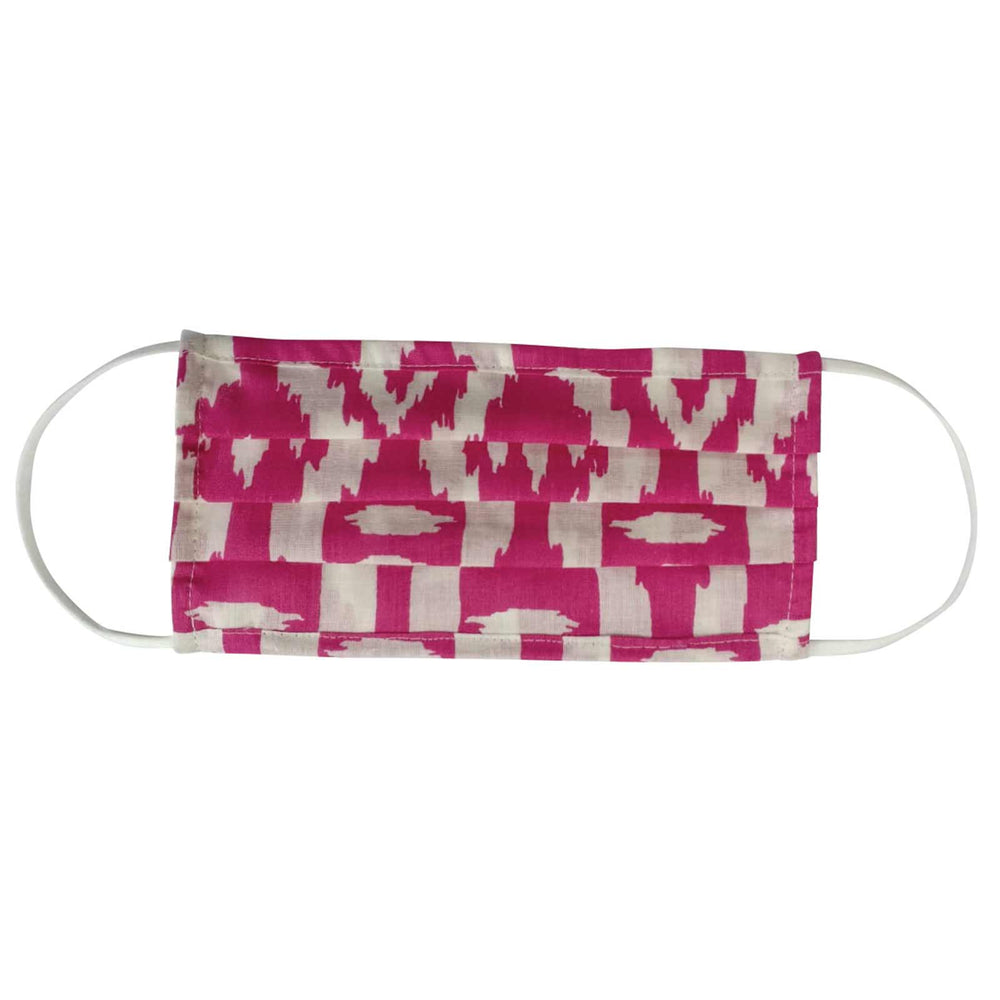 Deccan Magenta Reusable Pleated Cotton Face Mask - Reduced Price!