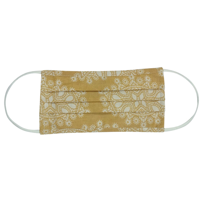 Medallion Tan Reusable Pleated Cotton Face Mask - Reduced Price!