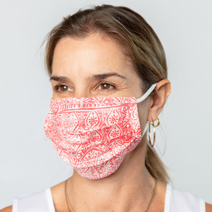 Christina Pink Reusable Pleated Cotton Mask