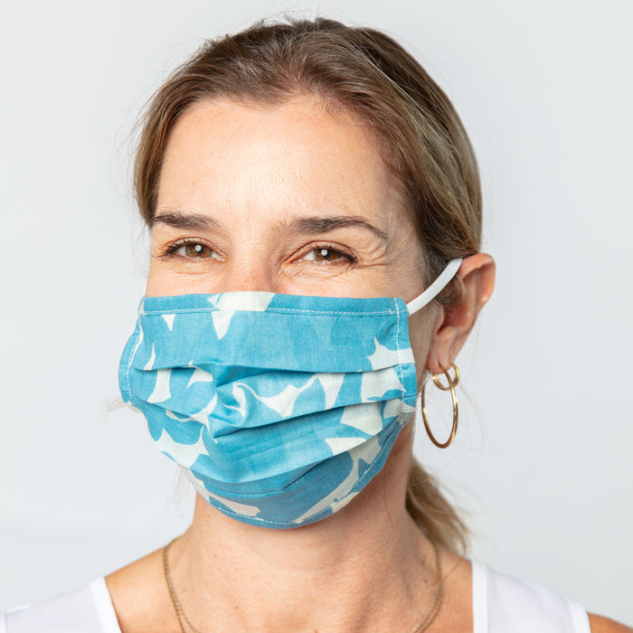 Floella Blue Reusable Pleated Cotton Mask - Reduced price!