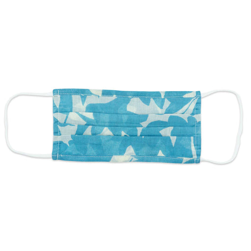 Floella Blue Reusable Pleated Cotton Mask