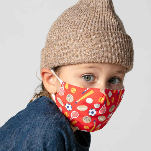 Sports Red Reusable Cotton Kid's Mask