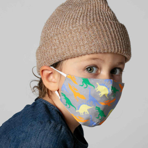 Dinosaur Grey Reusable Cotton Kid's Mask