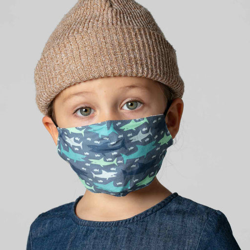 Sharks Blue Reusable Cotton Kid's Mask