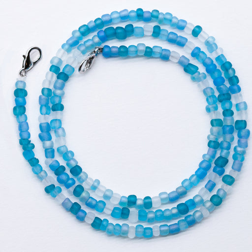 Ocean 4mm Glass Bead Face Mask Necklace