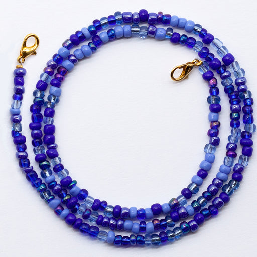 Blue 4mm Glass Bead Face Mask Necklace