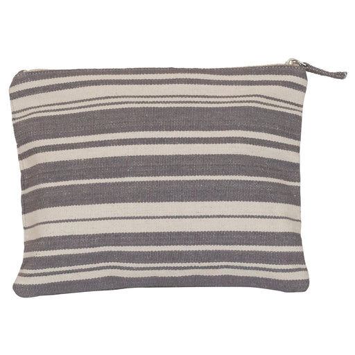 Woven Stripe Grey Cosmetic Pouch (available: March)