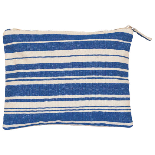 Woven Stripe Blue Cosmetic Pouch (available: March)