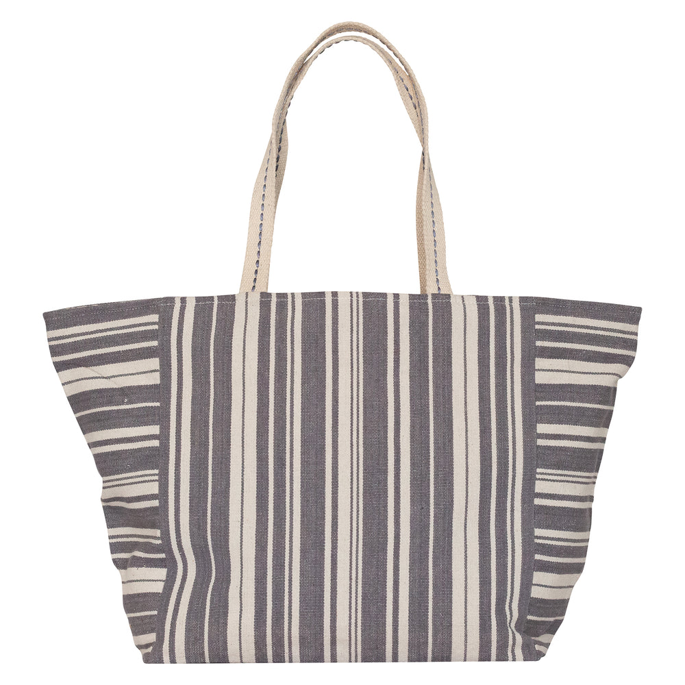 Woven Stripe Grey Carryall Tote