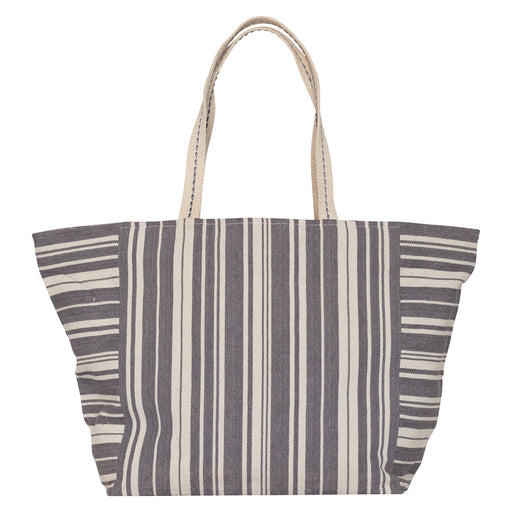 Woven Stripe Grey Carryall Tote (available: March)