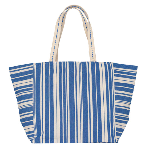 Woven Stripe Blue Carryall Tote (available: March)
