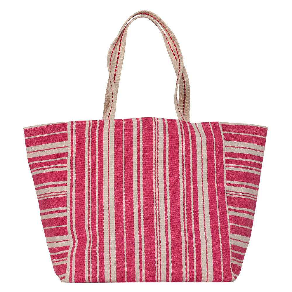 Woven Stripe Pink Carryall Tote (available: March)