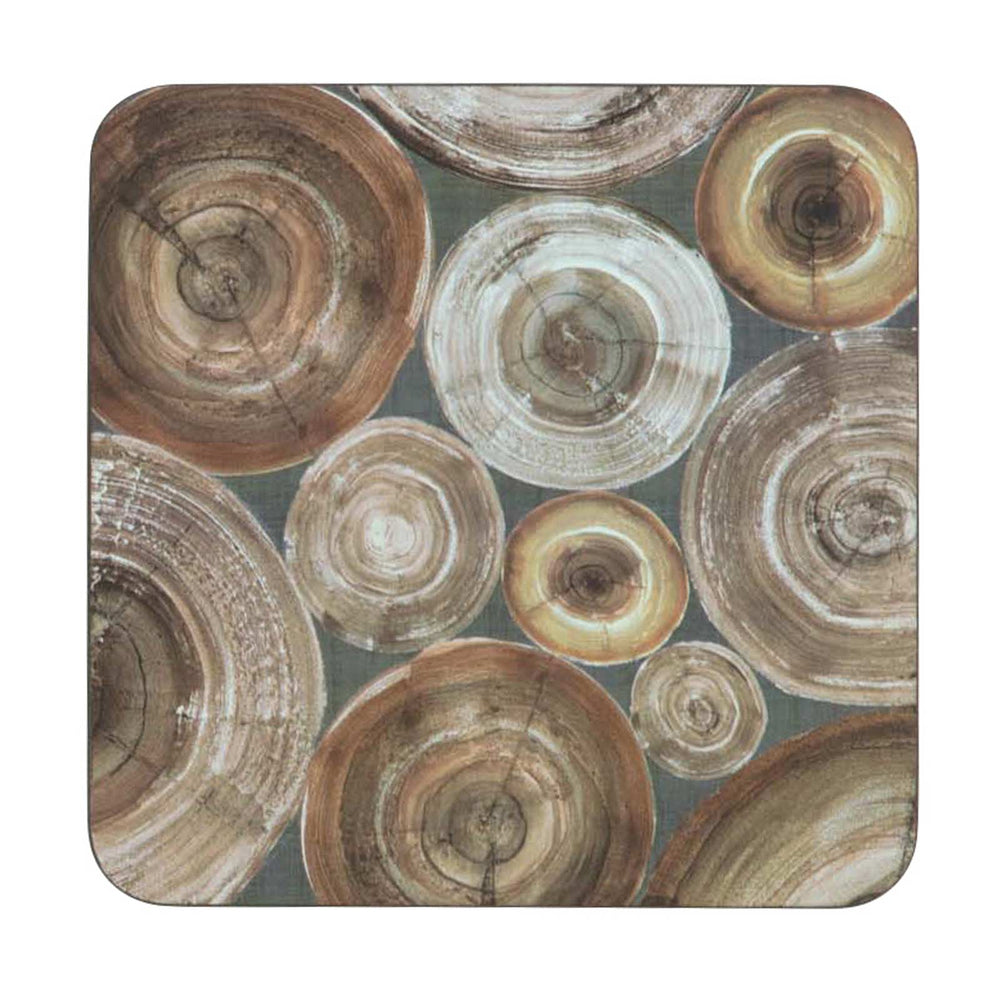 Stacked Wood Art Coasters - Set of 4