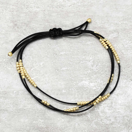 Lite Double Layer Thread Bracelet w/ Palin Beads - Gold Plated
