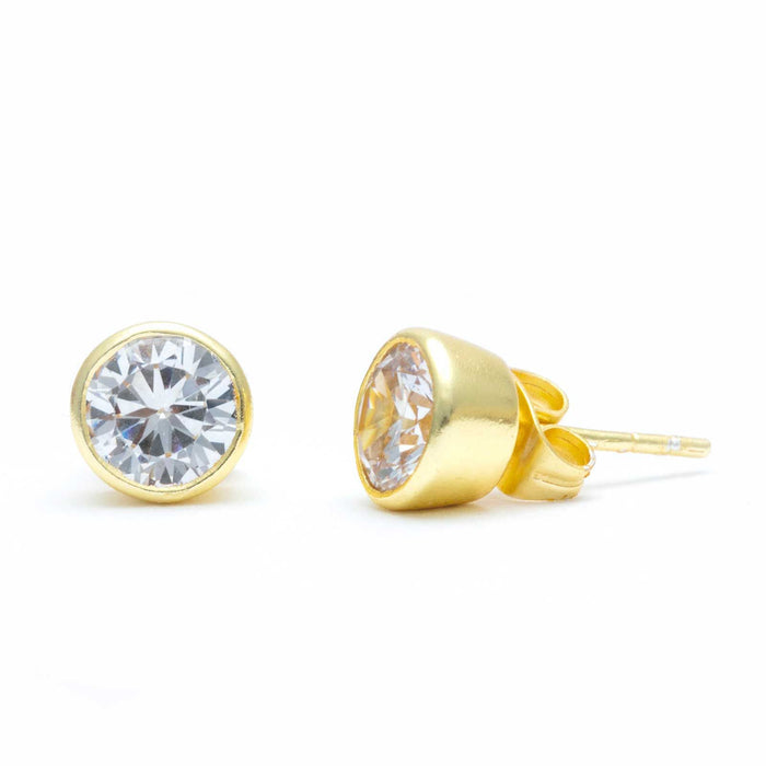 Round White Zirconia Solitaire Stud Earrings Gold Plated