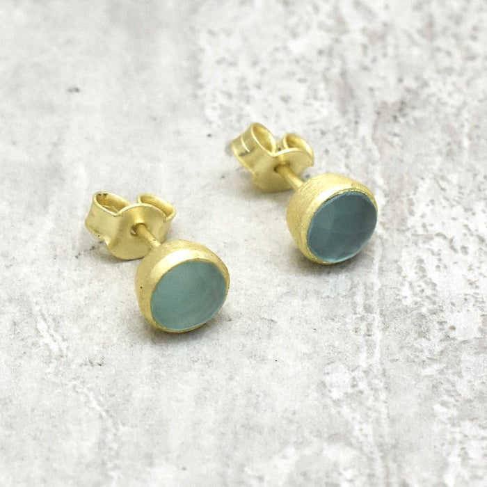 Serene Aqua Chalcedony Stud Earrings Gold Plated