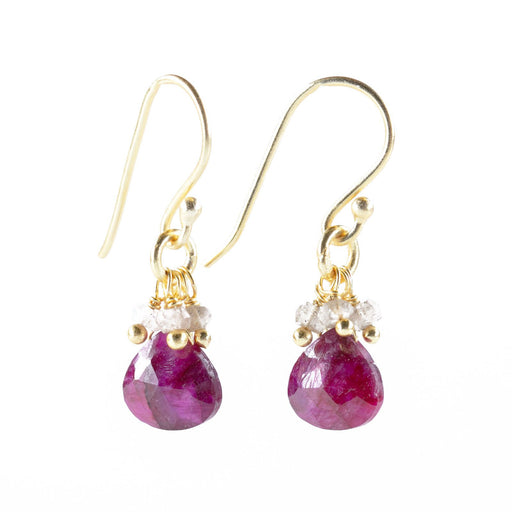 Teardrop Cherry Ruby &  Labradorite Bead Dangle Earrings Gold Plated