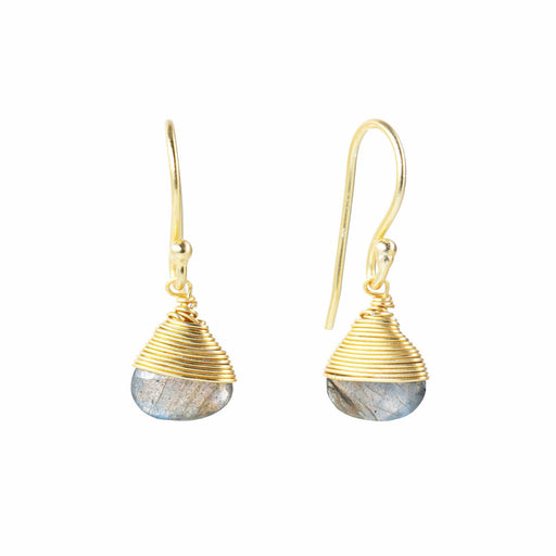 Modern Labradorite Solitaire Dangle Earrings Gold Plated
