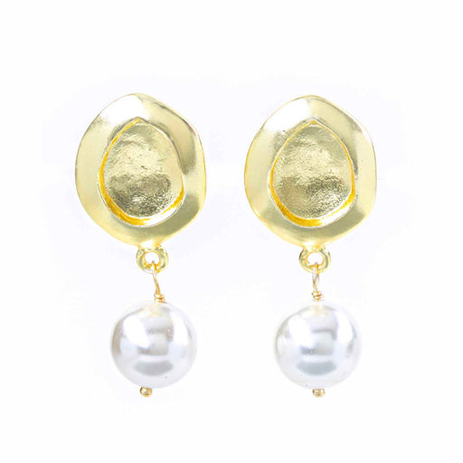 Retro Medallion Disc Cultured Pearl Double Dangle Earrings Gold Plated