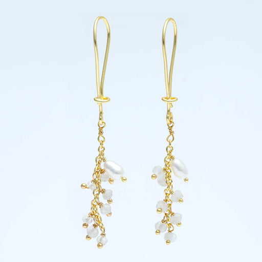 Linear Fringe Cultured Freshwater Pearl & White Rainbow Drop Earrings Gold Plated