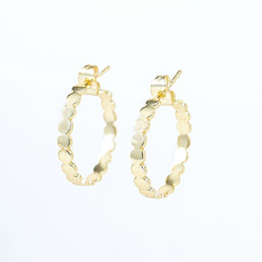 Medallion Circle Gold Plated C-Hoop Earrings