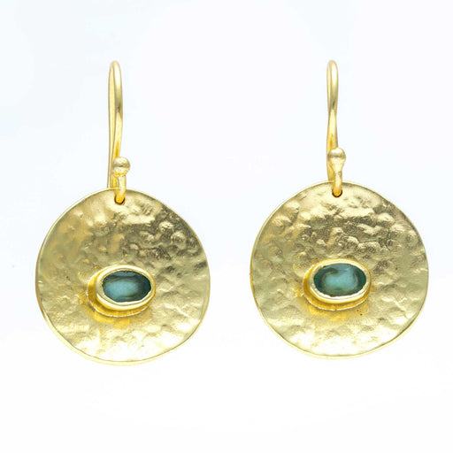 Aqua Chalcedony Medallion Disc Drop Earrings Gold Plated