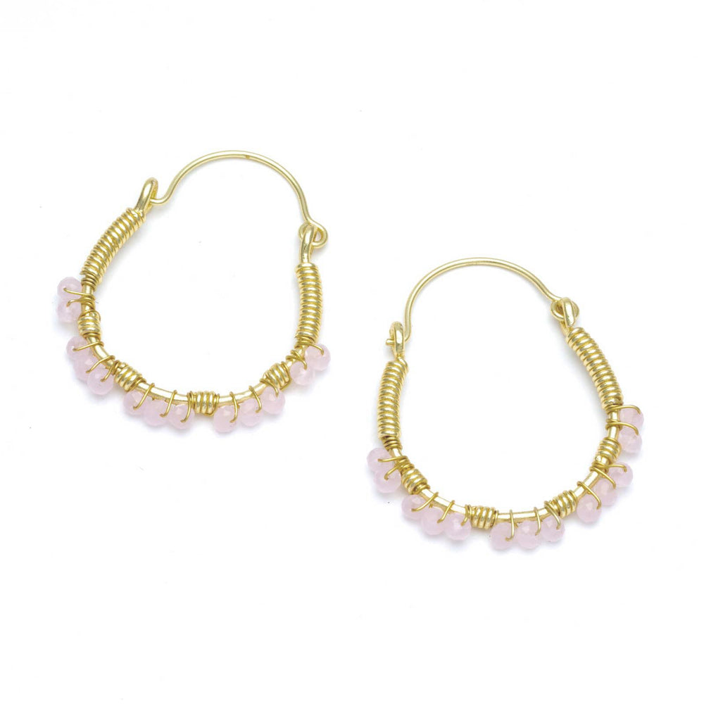Two-Tone Slim Hoops w/ Faceted Metal Beads Gold Plated