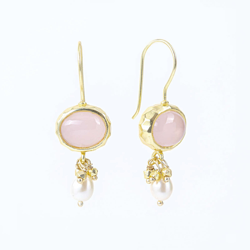 Rose Quartz & Freshwater Pearl Gold Plated Dangle Earrings