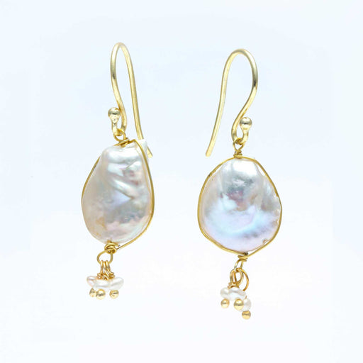 Baroque Freshwater Cultured Pearl Fringe Earrings Gold Plated