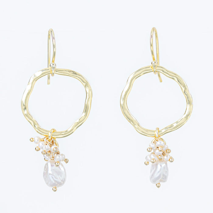 Cultured Freshwater White Pearl Fringe Hoop Earrings Gold Plated