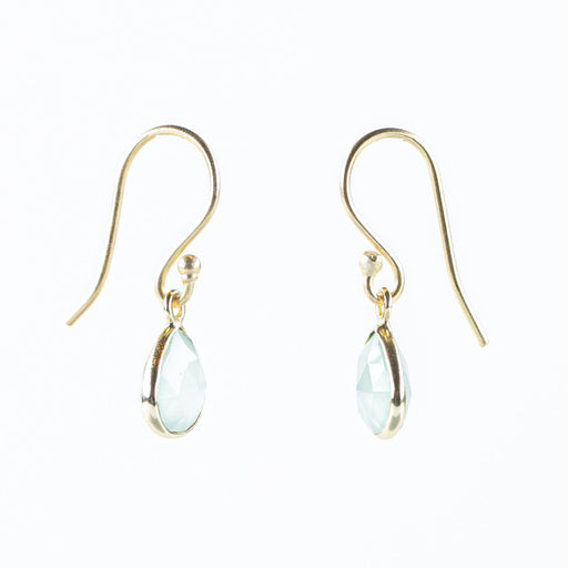 Teardrop Green Chalcedony Dangle Earrings Gold Plated