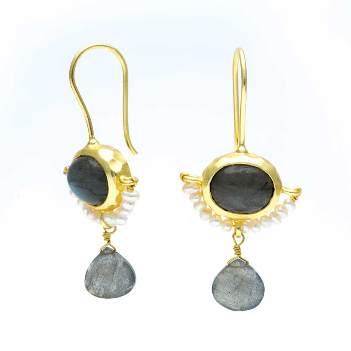 Boho Labradorite & Freshwater Pearl Trapeze Dangle Earrings Gold Plated