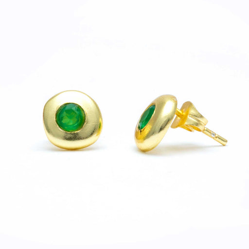 Green Onyx Gold Plated Button Stud Earrings