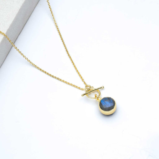 "Faceted Labradorite Pendant Necklace, 16"" - Gold Plated"