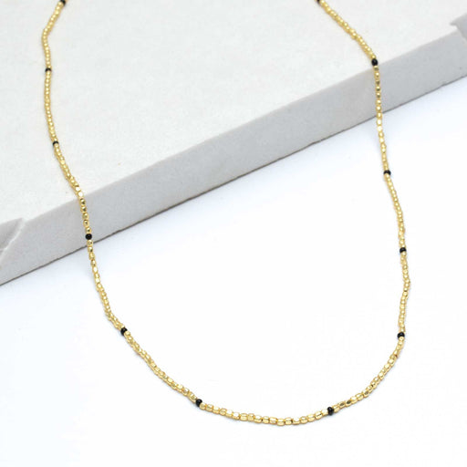 "Onyx Rustic Bead Necklace, 24"" - Gold Plated"