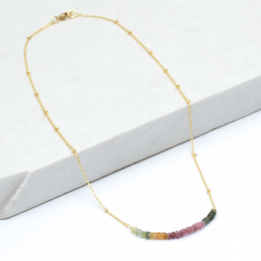"Multi-Labradorite Bar Necklace, 18"" - Gold Plated"