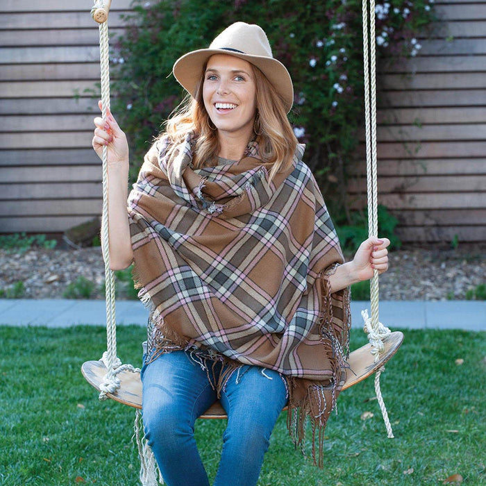 Camel/Brown Plaid Wrap SCARVES-ACRYLIC rfp-scarves