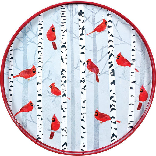 Cardinals on Birch Trees 18 inch Round Lacquer Serving Tray TRAY-ROUND rfp-home